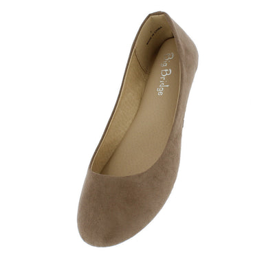 Lady02 Taupe Fashion Suede Full Coverage Ballet Flat Shoe Flat - Wholesale Fashion Shoes