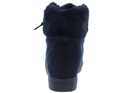 Laguna01 Navy Lace Up Faux Fur Cuff Sneaker Boot - Wholesale Fashion Shoes