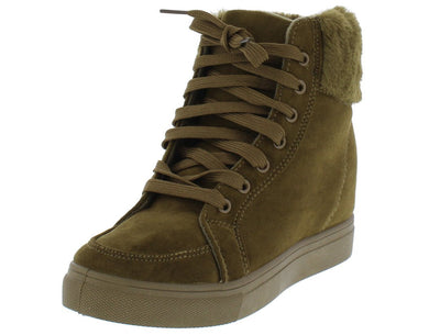 Laguna01 Olive Lace Up Faux Fur Cuff Sneaker Boot - Wholesale Fashion Shoes