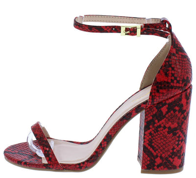 Lake25 Red Black Snake Pu Open Toe Ankle Strap Chunky Heel - Wholesale Fashion Shoes