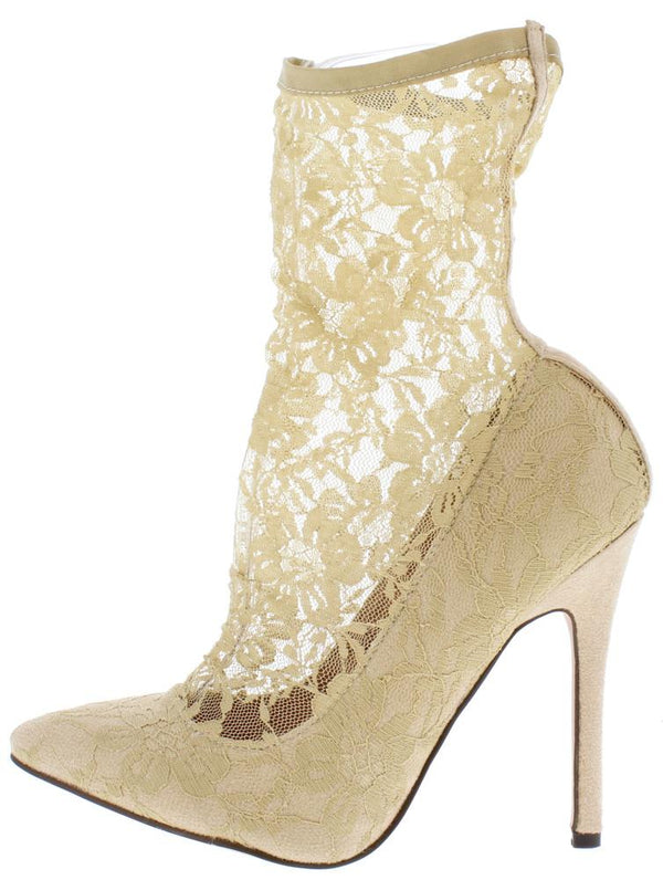 309b5d1169f Kennedy086 Nude Sock Fit Lace Pointed Toe Stiletto Heel