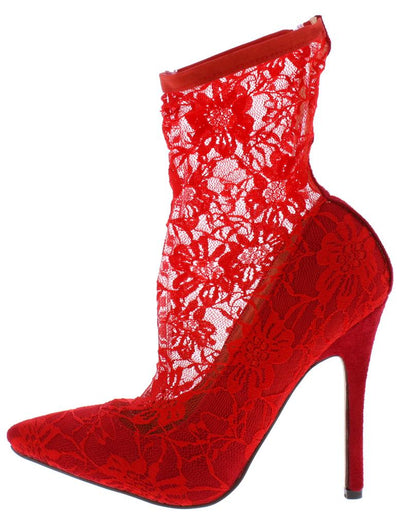 Kennedy086 Red Sock Fit Lace Pointed Toe Stiletto Heel - Wholesale Fashion Shoes
