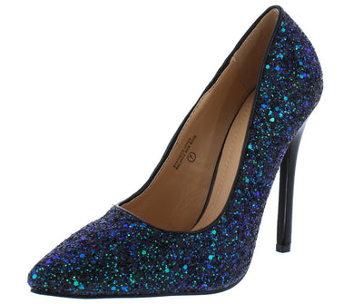 Everly030 Black Mermaid Pointed Toe Stiletto Glitter Heel - Wholesale Fashion Shoes