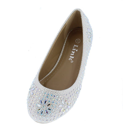 Lancey23k White Metallic Floral Rhinestone Kids Flat - Wholesale Fashion Shoes