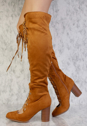 d1056b3b2b2f2d Lara Camel Almond Toe Scalloped Lace Up Knee High Boot - Wholesale Fashion  Shoes