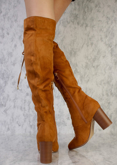 Lara Camel Almond Toe Scalloped Lace Up Knee High Boot - Wholesale Fashion Shoes