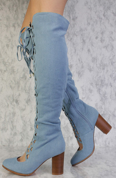 Lara Denim Almond Toe Scalloped Lace Up Knee High Boot - Wholesale Fashion Shoes