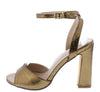 Cheryl220 Bronze Peep Toe Cross Back Ankle Strap Block Heel - Wholesale Fashion Shoes