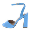 Cheryl220 Light Blue Peep Toe Cross Back Ankle Strap Block Heel - Wholesale Fashion Shoes