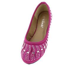 LARISA37K FUCHSIA ALMOND TOE MULTI CUT OUT WAVY RHINESTONE BALLET KIDS KIDS FLAT - Wholesale Fashion Shoes - 2