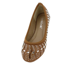 LARISA37K TAN ALMOND TOE MULTI CUT OUT WAVY RHINESTONE BALLET KIDS KIDS FLAT - Wholesale Fashion Shoes - 2