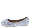 Larisa39k Silver Round Toe Rhinestone Kids Ballet Flat - Wholesale Fashion Shoes