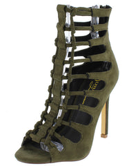 LARKIN OLIVE OPEN TOE MULTI KNOT CUT OUT HEEL - Wholesale Fashion Shoes