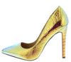 Larsa Gold Hologram Snake Pointed Toe Stiletto Heel - Wholesale Fashion Shoes