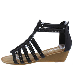 a036c855e5 Laser31 Black Perforated Open Toe Gladiator Wedge - Wholesale Fashion Shoes
