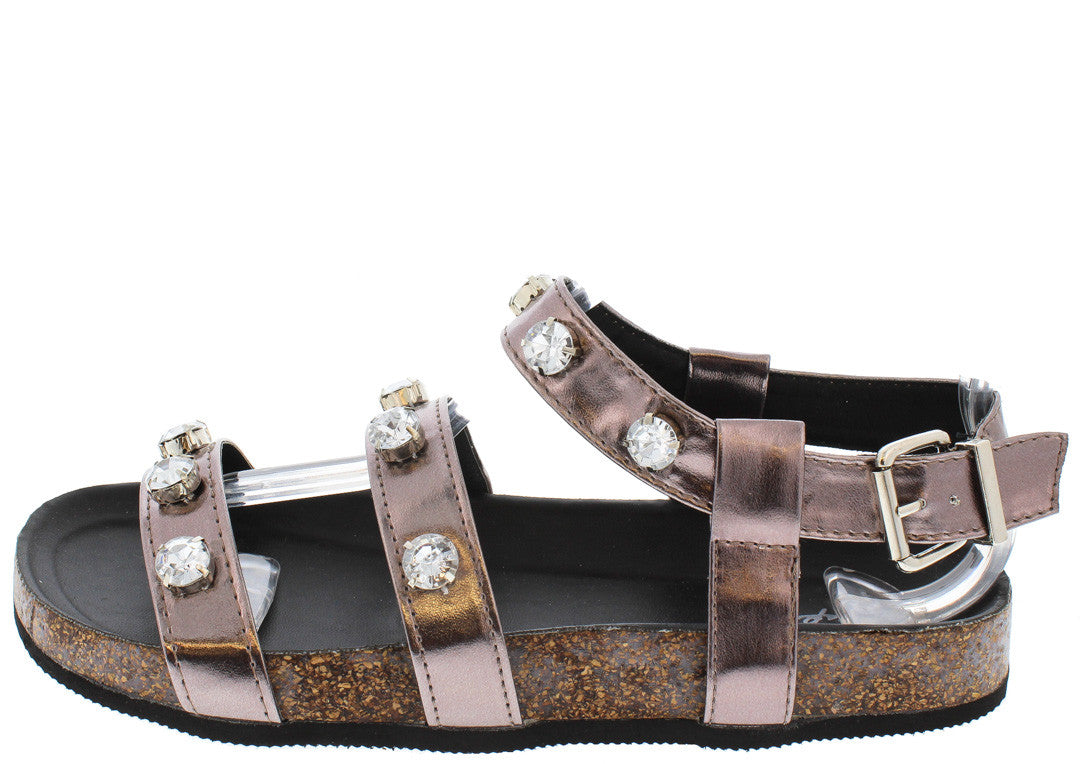 3b73a5031 Laudy08 Pewter Rhinestone Cork Sandals Only  10.88 - Wholesale ...