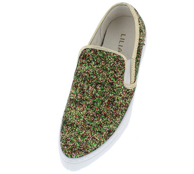 Maya Gold Multi Pointed Toe Texture Glitter Sneaker Flat - Wholesale Fashion Shoes