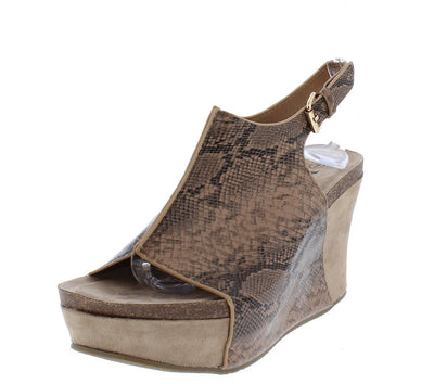 Laura2 Brown Snake Slingback Open Toe Covered Platform Wedge - Wholesale Fashion Shoes