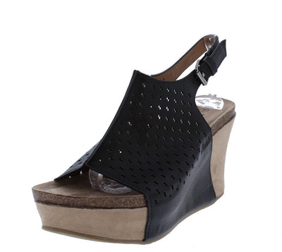 Laura5 Black Perforated Slingback Covered Platform Wedge - Wholesale Fashion Shoes