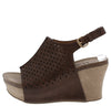 Laura5 Brown Perforated Slingback Covered Platform Wedge - Wholesale Fashion Shoes
