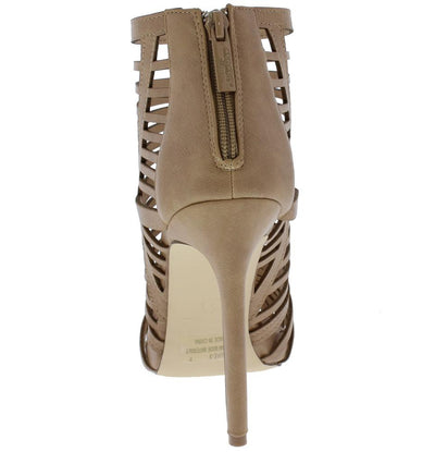 Laure3 Taupe Peep Toe Strappy Caged Stiletto Heel - Wholesale Fashion Shoes