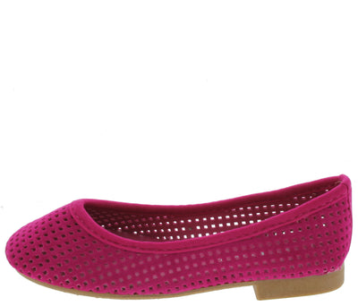 Lauren44k Fuchsia Perforated Kids Flat - Wholesale Fashion Shoes