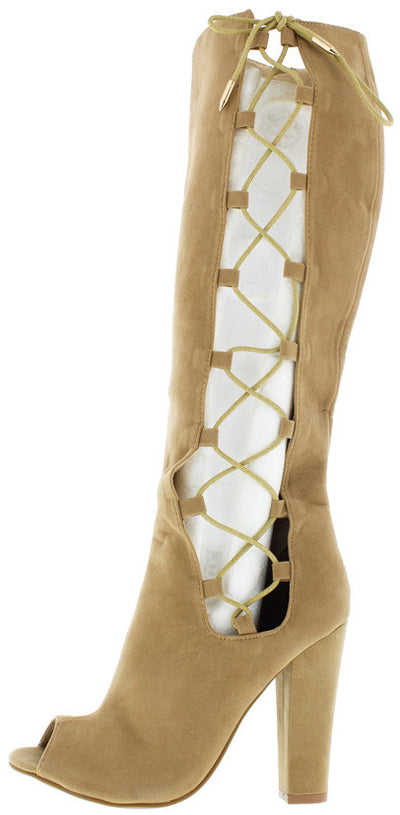 Laurent Camel Peep Toe Lace Up Exposed Side Chunky Heel Boot - Wholesale Fashion Shoes