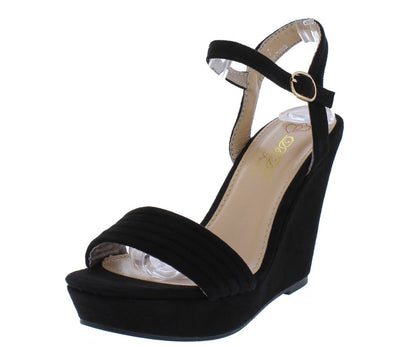 Laurie1 Black Open Toe Slingback Ankle Strap Platform Wedge - Wholesale Fashion Shoes