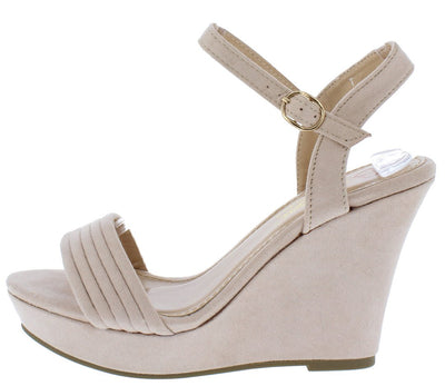 Laurie1 Nude Open Toe Slingback Ankle Strap Platform Wedge - Wholesale Fashion Shoes