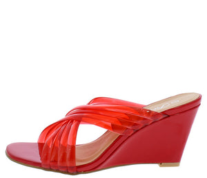 5546cd6bf88e Laury11 Red Square Toe Multi Lucite Cross Strap Mule Wedge - Wholesale  Fashion Shoes