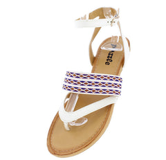 LEAH24 WHITE BOHO WOMEN'S THONG SANDAL - Wholesale Fashion Shoes