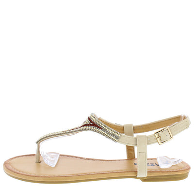 Leah25 Nude Boho Beaded Women's Thong Sandal - Wholesale Fashion Shoes