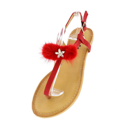 Leah26 Red Fuzzy Glam Women's Thong Sandal - Wholesale Fashion Shoes