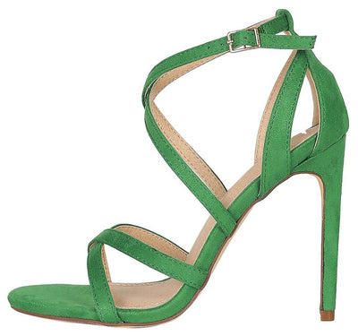 Dylan200 Green Cross Strap Open Toe Cut Out Stiletto Heel - Wholesale Fashion Shoes