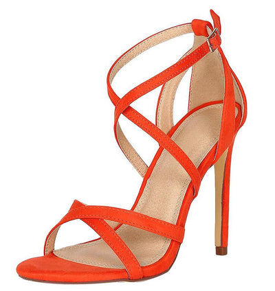 Dylan200 Orange Cross Strap Open Toe Cut Out Stiletto Heel - Wholesale Fashion Shoes