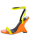 Crystal077 Yellow Open Toe Ankle Strap Curved Wedge - Wholesale Fashion Shoes