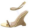 Emily292 Gold Sparkle Open Toe Ankle Strap Curved Wedge - Wholesale Fashion Shoes
