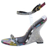 Emily292 Multi Snake Sparkle Open Toe Ankle Strap Curved Wedge - Wholesale Fashion Shoes
