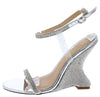 Emily292 Silver Sparkle Open Toe Ankle Strap Curved Wedge - Wholesale Fashion Shoes