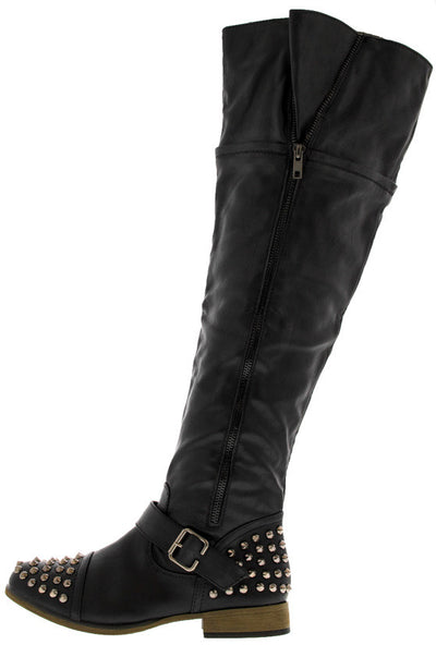 Legend32 Black Studded Combat Boot - Wholesale Fashion Shoes