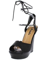 LETTY48 BLACK WOMEN'S WEDGE - Wholesale Fashion Shoes