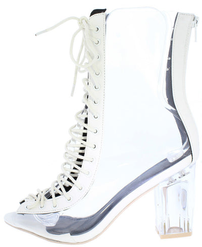 Logan White Clear Peep Toe Lace Up Clear Lucite Heel Ankle Boot - Wholesale Fashion Shoes