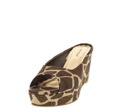 Levana01 Brown Giraffe Print Mule Wedge - Wholesale Fashion Shoes