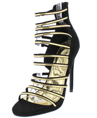 ABBI BLACK OPEN TOE MULTI STRAP GOLD STILETTO HEEL - Wholesale Fashion Shoes