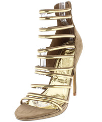 ABBI TAUPE OPEN TOE MULTI STRAP GOLD STILETTO HEEL - Wholesale Fashion Shoes
