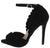 Lex1 Black Peep Toe Ankle Strap Ruffled Stiletto Heel