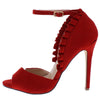 Lex1 Red Peep Toe Ankle Strap Ruffled Stiletto Heel - Wholesale Fashion Shoes