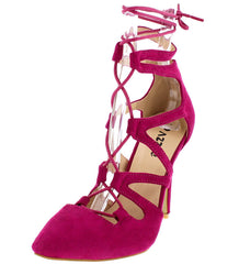 Lexis01 Fuchsia Pointed Toe Multi V-strap Lace Up Heel - Wholesale Fashion Shoes
