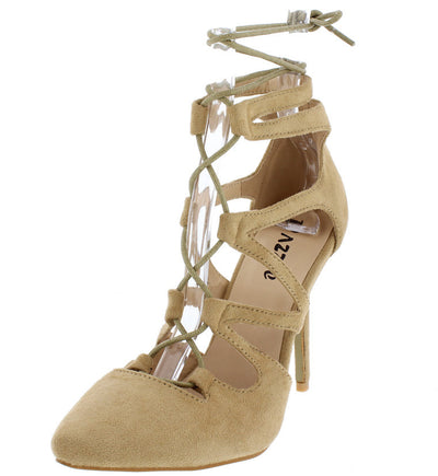 Lexis01 Taupe Pointed Toe Multi V-strap Lace Up Heel - Wholesale Fashion Shoes