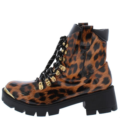 Maria224 Leopard Lace Up Chunky Lug Sole Boot - Wholesale Fashion Shoes